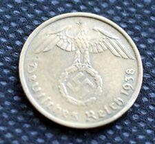 WW2 5 REICHSPFENNIG 1938 COIN *G* WW2 THIRD REICH GERMANY HITLER ERA  /37