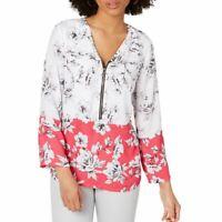 ALFANI NEW Women's Ivory/pink Floral-print Zip-front Blouse Shirt Top XXL TEDO