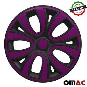 """Hubcaps 14"""" Inch Wheel Rim Cover For Honda Matt Black Violet Insert 4pcs Set"""