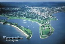 Aerial View of Escanaba Michigan, Sand Point Light, Yacht Harbor, Park, Postcard