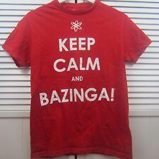 "Big Bang Theory T shirt Red "" Keep Calm Bazinga"" Ripple Junction Size S"