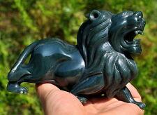 Hand Carved Fine Nephrite Jade Lion Statue / Sculpture Gemstone Carving