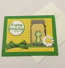 Handmade Birthday Card ~ Frog in Jar w/ Daisy ~ made w/ Stampin Up & other prod