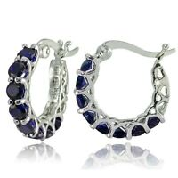 "0.85"" Pave Blue Sapphire Hoop Earrings 14k White Gold ITALIAN MADE"
