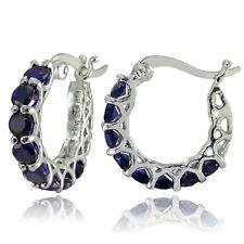 "0.85"" Pave Blue Sapphire Hoop Earrings 14k White Gold ITALIAN MADE"