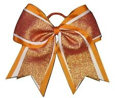 "NEW ""SHIMMER Orange"" Cheer Bow Pony Tail 3"" Ribbon Girls Hair Bows Cheerleading"