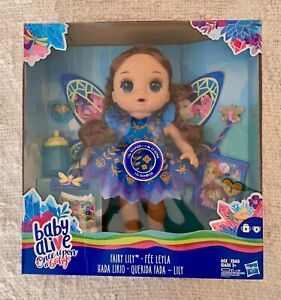 Baby Alive Once Upon a Baby: Fairy Lily Doll Blue Eyes Brunette Hair Lilly NEW!