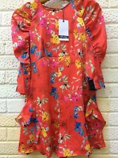 ZARA Floral Silky Playsuit Size S / 8 / 36 Red NEW