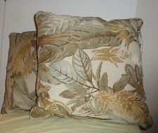Pair (2) Parakeet Bird Floral Leaves Pillows Beige Green Square Throw Cushion