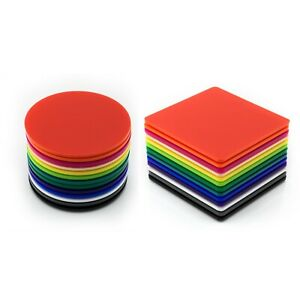 Acrylic Coasters Square and Round Kitchen Table Kids Children Laser Cut Dining