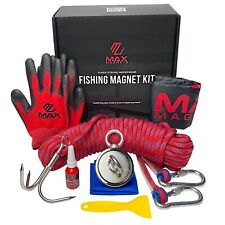 Magnet Fishing Kit - Double Sided 1000 Lb Pull Complete 8pc Set + Grappling Hook