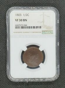 1803 Draped Bust Half Cent | NGC VF30 | Excellent Detail & Color