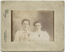 ANTIQUE PORTRAIT OF 2 YOUNG LADIES/SISTERS FROM MCKEESPORT, PA, BY WERRY STUDIO