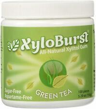 Xylitol Gum, Xyloburst, 100 count jar Green Tea