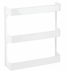 mDesign Large Wall Mount Storage Organizer Shelf, 3 Tier - White