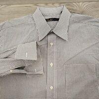 Hart Schaffner Marx Gold Men's Dress Shirt 16 34/35 Flip Cuff Black White Check