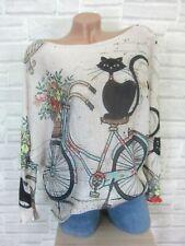 ITALY Strick Shirt Pulli Pullover mit Schönem Print 38 40 42 Beige Mix E815 NEU