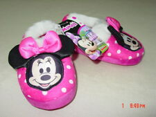NWT Toddler Girls Minnie Mouse Slippers Disney Cute Warm Cozy Pink Footwear