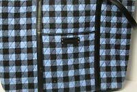 Vera Bradley Blue and Black Plaid Quilted Tote Handbag Shoulder Bag