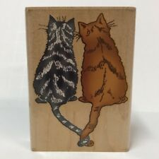 Inkadinkado Rubber Stamp 6709 N Two Cats Back View Twisted Tails Wood-Mounted