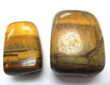 Tumbled Ordinary Grade Tiger's Eye Stone Pair 110 gram 75.4 g & 34.6 g