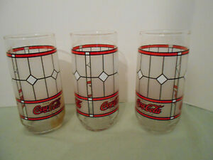 3 Vintage Coca Cola Drinking Glasses Tiffany Style Coke Frosted Stained Glass