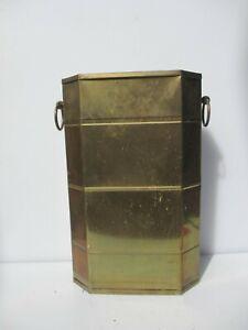 "Vintage Brass Umbrella Stand Walking Stick Pot Holder Old Handles Planter 18.5""H"