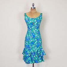 Vtg 50s 60s Pinup Bombshell Blue Floral Print Wiggle Tier Ruffle Party Dress XS