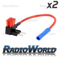 2x Inline 10A Mini Blade Fuse Tap Car Audio Quick Ingition Live Splice Circuit