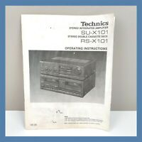 TECHNICS Amplifier SU-X101 Double Cassette RS-X101 Operating Instructions Manual