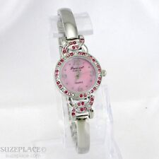 NEW PRECISION by GRUEN LADIES WATCH PINK PEARLIZED DIAL PINK RHINESTONES