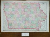 "Vintage 1900 IOWA Map 22""x14"" ~ Old Antique Original DES MOINES MUSCATINE WAUKON"