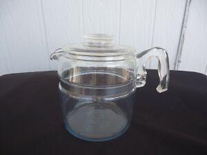 vintage retro pyrex  glass coffee percolator pot  6 cup  kettle teapot