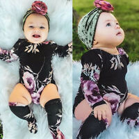 Newborn Baby Infant Girl Floral Romper Jumpsuit Bodysuit Outfits Clothes