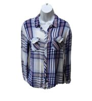 Rails Flannel Shirt Hunter Womens Button Long Sleeve Plaid Blue Mult Blouse To S