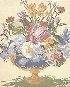 Blue Vase Flowers Tapestry Needlepoint Canvas