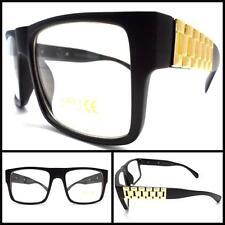 NEW VINTAGE HIP Clear Lens EYE GLASSES Black Matte FASHION Frame Gold Chain Arms