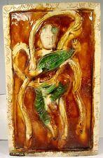Ming Sancai Porcelain Wall Plaque Female Musician Lute Mandolin Zither 1500AD