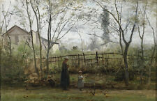 Great oil painting countrywoman with her children in landscape by field canvas