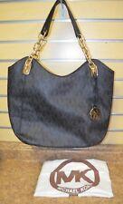 *Michael Kors Lilly Black Signature PVC Chain Satchel Tote Bag Purse w/ Dust Bag