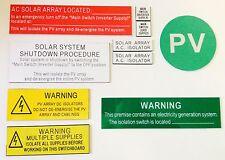Solar Labels Micro Inverter Kit  (10 labels inc in 1 kit) Victoria