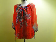 Ella Moss Women Floral Tie Cuffs Silk Blouse /Red /Small.