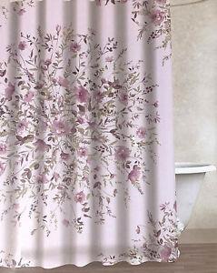 """Envogue Shower Curtain Floral 100% Cotton 72"""" x 72"""" Lavender"""