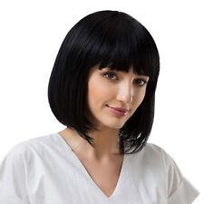 Perruque Carré Noire Cheveux Courte Droites avec Frange Naturel Postiche