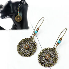 Fashion Retro Turquoise Flower Dangle Ear Studs Drop Earring