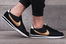 NIKE CLASSIC CORTEZ NYLON Running Trainers Gym Casual - UK 7 (EUR 41) Black Gold