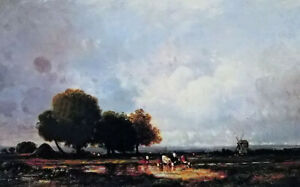 Dream-art Oil painting Leon Victor Dupre - at the watering hole landscape canvas