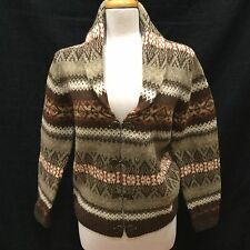 CARDIGAN SWEATER COAT SIZE M 100% Wool Brown Aztec Indian Western Southwest
