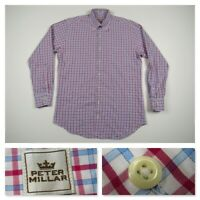 Peter Millar Mens PInk Button Front Plaid Long Sleeve Casual Dress Shirt Medium