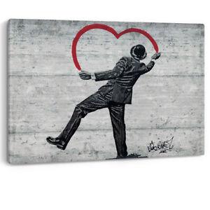 Nick Walker Heart Graffiti Man Hat Artwork Framed Canvas Wall Art Picture Print